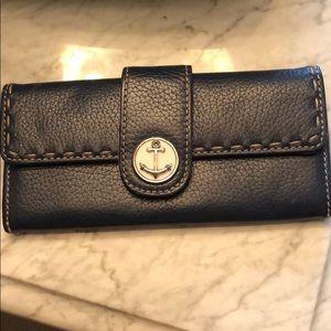 Brighton navy leather anchor wallet